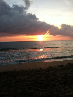 Sunset on our beach. Always takes our breath away.