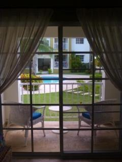 looking out towards balcony & pool