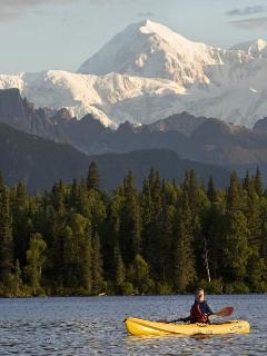 Byers lake and Mt. Denali. 40 minute drive.  Kayak rentals