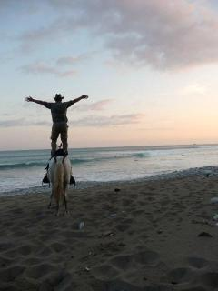 Horseback riding on the beach in front of the house during surise!