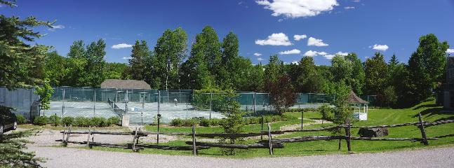 A view to the tennis courts from the front door. There are four courts for you to book (free)