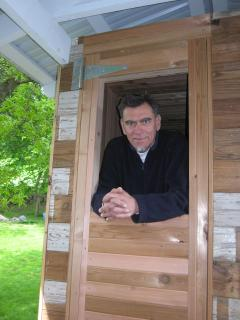 me looking out wood fired sauna