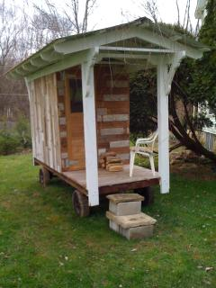 wood fired sauna on old farm cart