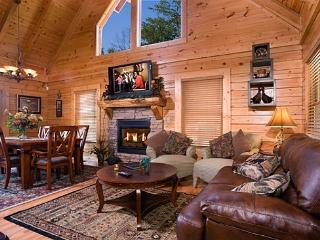 Living Room - Dining Room - Stone Stacked Fireplace