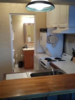 Kitchen area with second door to bathroom.