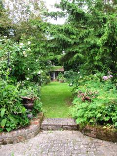 View from the cottage back door into the garden, enjoy the butterfly's and the birds