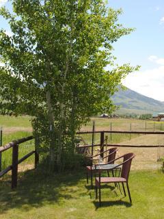 Side yard facing mountains