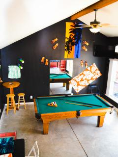 Our poolhouse/cabana/guest house (with pool table and mounted flat screen TV)