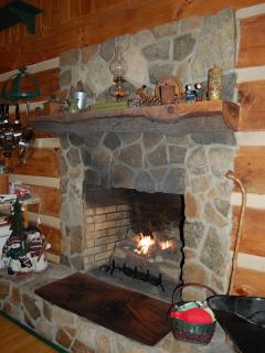 Stone fireplace...relax by the fire on a chilly fall day