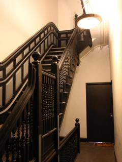 Hallway leading up to apt in 18th century brownstone