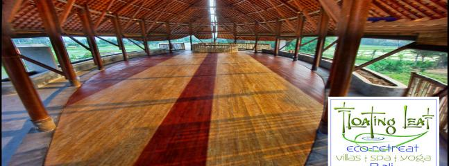 The interior of the massive yoga hall. This 2000 square foot (186 sq meters) space