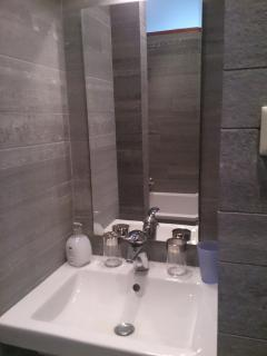 Bathroom sink, with everything you need; hairdryer is available (stored under the washbasin).