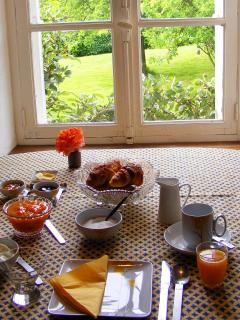 Croissants, homemade jam, fresh orange  juice - a great way to start your day!