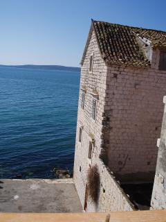 A view from your window, looking at the romantic ruin of Kastel Staffilic next to your apartment