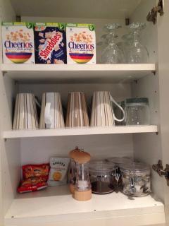 Welcome foods cereals, tea, coffe, sugar, biscuits, wine, beer, milk, bread