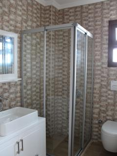 Shared bathroom with shower upstairs