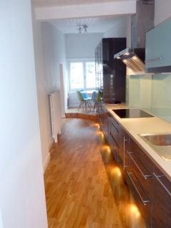 Fully equipped kitchen with; Fan Oven, Steam Microwave, Inductive Hob, Washing Machine, Dish Washer