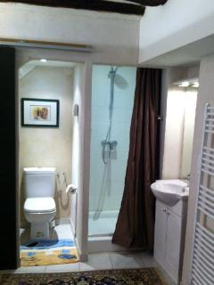 Shower and toilet with sliding door