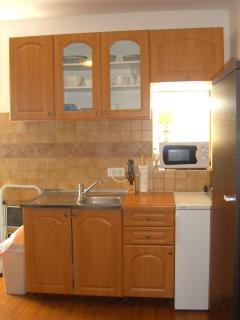 Sunny, well lit, fully stocked kitchen with microwave, cook top, and small fridge.