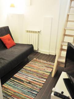 TV-room in the basement holds a large sofa bed for two persons
