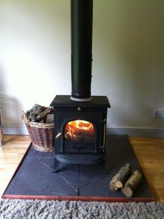 A lovely log burner. Wood and firelighters supplied