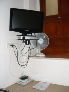 Satellite TV, fan. Electric heater also available.