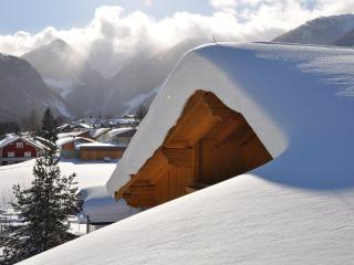 Snowy roof and view of Rohrmoos