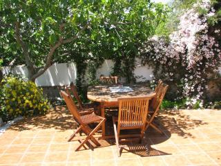 Fig tree shaded patio,outside the front door