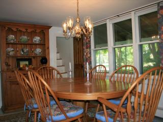 Dining room and eat in kitchen has room for all.