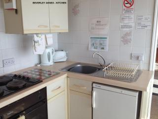 Fully equipped kitchen corner including microwave oven and washing machine.