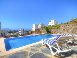 The villa looks out over the Greek islands of Kalymnos and Kos
