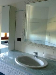 il bagno grande e spazioso con vasca e doccia