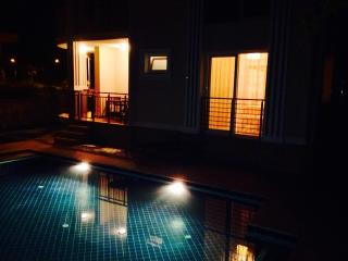 Pool by night time.
