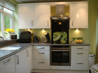 Kitchen with high gloss units & Corian worktop & sink