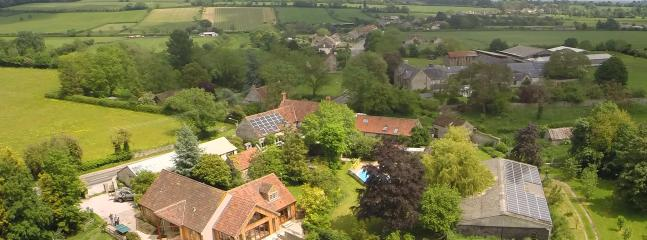 Aerial view of the Lodge surrounded by fields