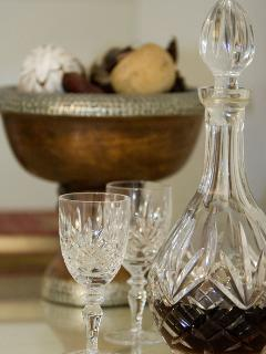 Crystal decanter and glasses.. a lovely welcome drink, whatever the weather