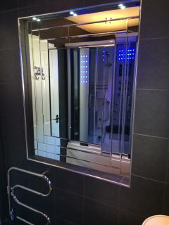 Art Deco Bathroom Mirror(18) & heated towel rail