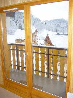 View from the apartment with doors closed in Winter
