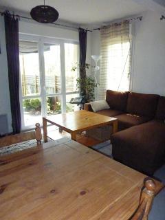 Salon avec baie vitrée sur le jardin (Lounge with picture windows on garden)