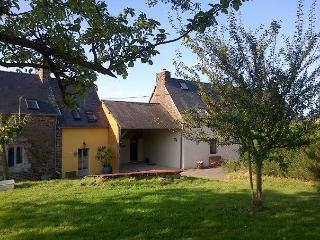 Gite la Besnerais, taken from the orchard. The gite is the cream part of the building.