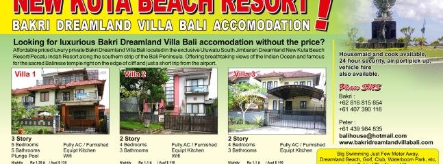 Aff       Villa 1 ,Villa 2 , Villa 3 all inside New Kuta Beach Resort/Pecatu Indah resort in big est