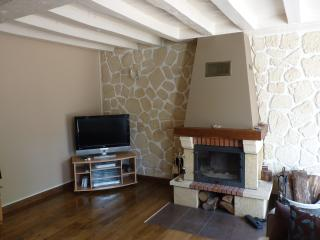 Living Room with Log Fire, TV (French and English), DVD and Games Console
