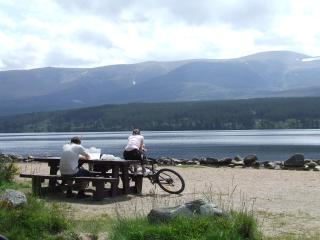 Loch Morlich and the Cairngorms nearby 20 minute drive