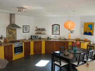 The enormous open-plan kitchen