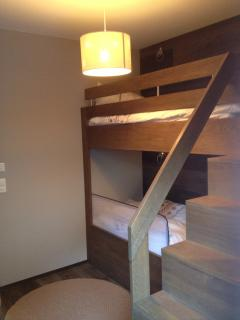 Bedroom two custom-made solid oak bunk beds