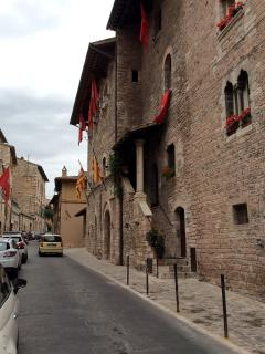 Banners flying on our street for one of Assisi's many festivities