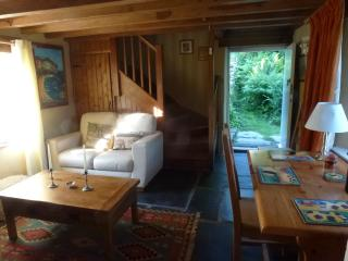 The sunny sitting room has a large TV, cd player, ipod dock and wood burning stove