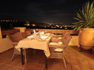 DINE ON THE TERRACE UNDER THE STARS & lights twinkling all the way down the coast to Puerto B