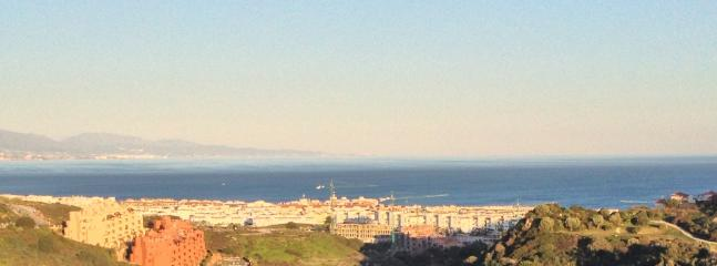Part of the panoramic seaview from the apartment:  lashings of blue sea and sky