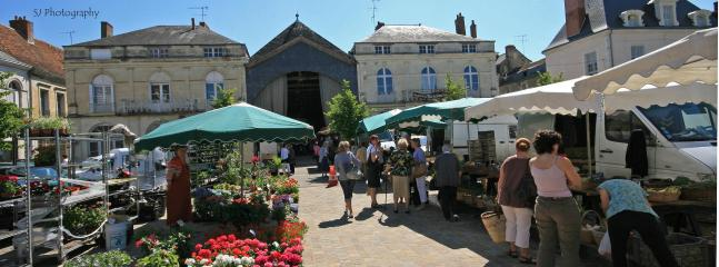 The bustling market square in Richelieu with Les Halles in the background.